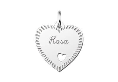 Zilveren graveerplaatje Hart met hartje en rand