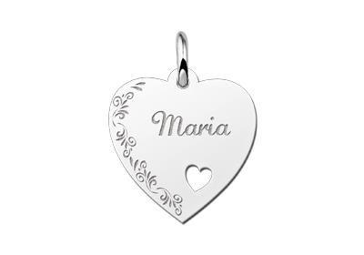 Zilveren graveerplaatje Hart met hartje en bloemenrand