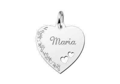 Zilveren graveerplaatje Hart met 2 hartjes en bloemenrand