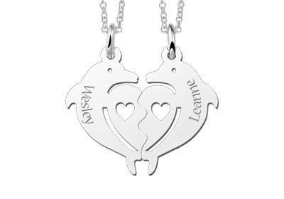Zilveren graveerplaatje breekhanger Dolfijnen met hartje