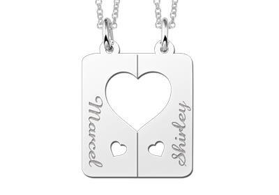 Zilveren graveerplaatje breekhanger Harten met hartje