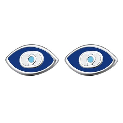 Zilveren Het Oog blauw oorstekers oorknoppen
