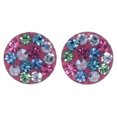Zilveren Rond roze glitter oorstekers oorknoppen