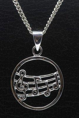 Zilveren Muzieknoten in ring ketting hanger