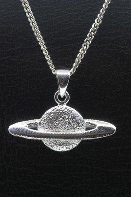 Zilveren Planeet Saturnus ketting hanger