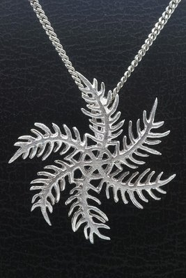 Zilveren Sneeuwvlok draai mat ketting hanger