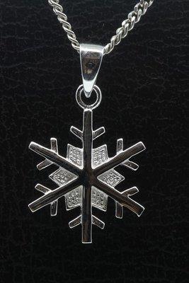Zilveren Sneeuwvlok glans ketting hanger