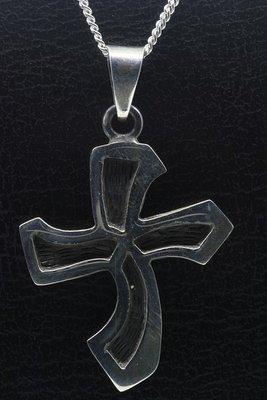 Zilveren Keltisch kruis golvend ketting hanger