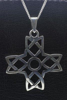 Zilveren Keltisch kruis gelijkbenig ketting hanger