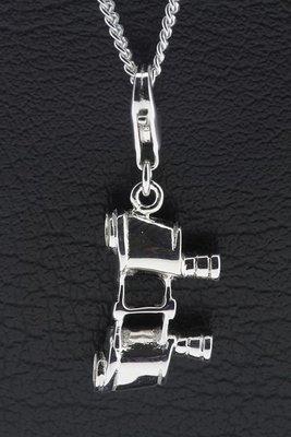 Zilveren Verrekijker hanger én bedel