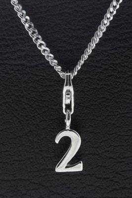 Zilveren Cijfer 2 getal twee hanger én bedel