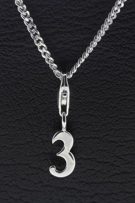 Zilveren Cijfer 3 getal drie hanger én bedel