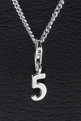 Zilveren Cijfer 5 getal vijf hanger én bedel