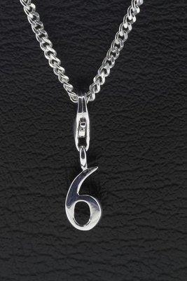 Zilveren Cijfer 6 getal zes hanger én bedel