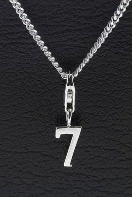 Zilveren Cijfer 7 getal zeven hanger én bedel