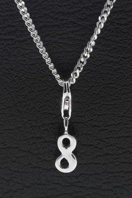 Zilveren Cijfer 8 getal acht hanger én bedel