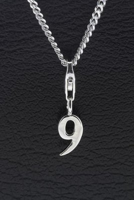 Zilveren Cijfer 9 getal negen hanger én bedel