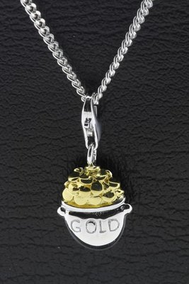 Zilveren Pot met goud hanger en bedel