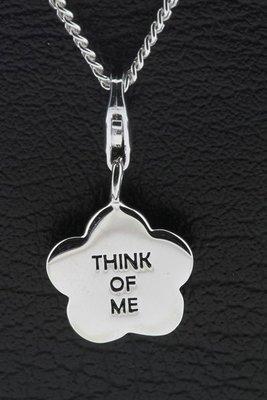 Zilveren Bloem met tekst think of me hanger en bedel