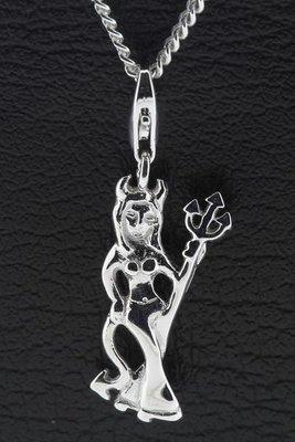 Zilveren Duivelin hanger en bedel