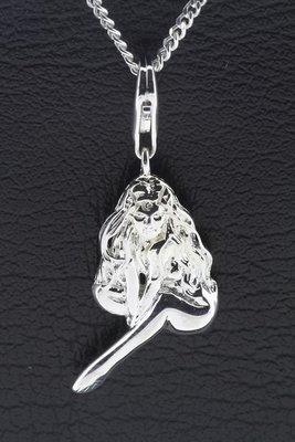Zilveren jonge Vrouw hanger en bedel