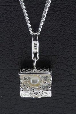 Zilveren Schatkist hanger en bedel