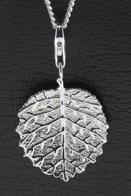 Zilveren Hazelnoot blad hanger en bedel