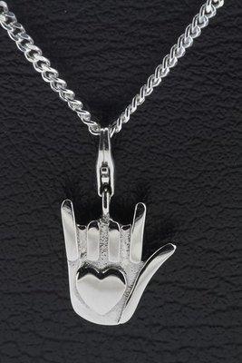 Zilveren Hand ik hou van jou hanger en bedel