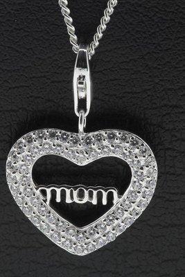 Zilveren Hart strass met tekst MOM hanger en bedel