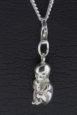 Zilveren Baby hanger en bedel