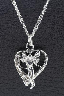 Zilveren Engel in hart ketting hanger