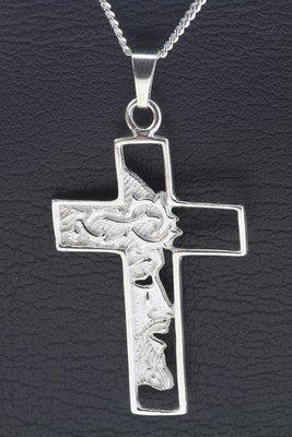 Zilveren Kruis met Jezus gezicht groot ketting hanger