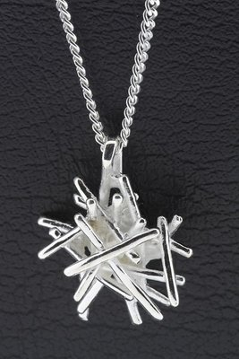 Zilveren Draadmix ketting hanger