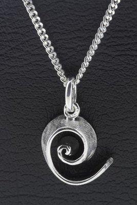 Zilveren Spiraal geborsteld ketting hanger