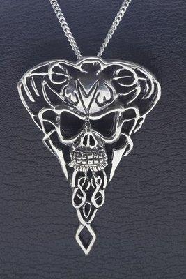 Zilveren Amulet met doodskop XL ketting hanger