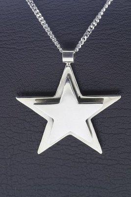 Zilveren Dubbele ster groot ketting hanger