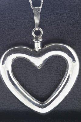 Zilveren Hart ashanger open XL ketting hanger