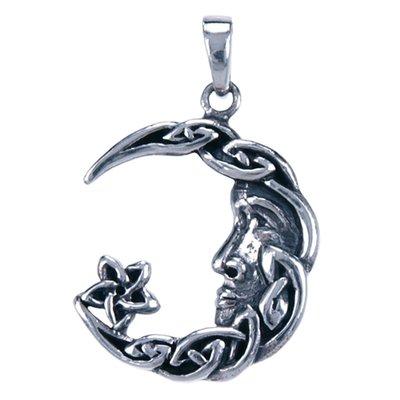 Zilveren Keltische Maan ketting hanger