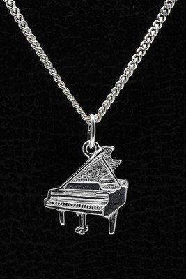 Zilveren Piano vleugel ketting hanger - vlak met askokertje aan achterzijde