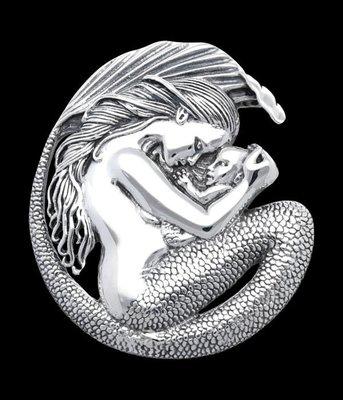Zilveren Zeemeermin moeder en kind XL kettinghanger
