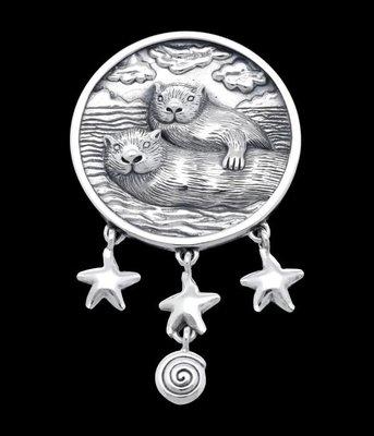 Zilveren Zee otters XL kettinghanger