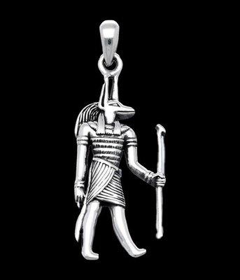 Zilveren Egyptische god Anubis kettinghanger