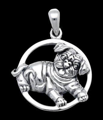 Zilveren Mopshond in ring kettinghanger