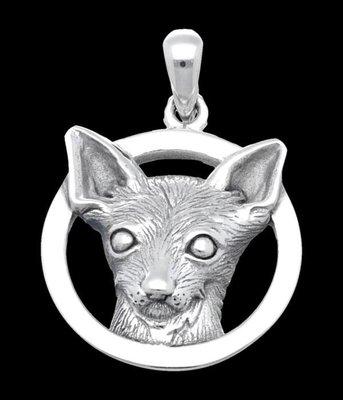 Zilveren Chihuahua in ring kettinghanger