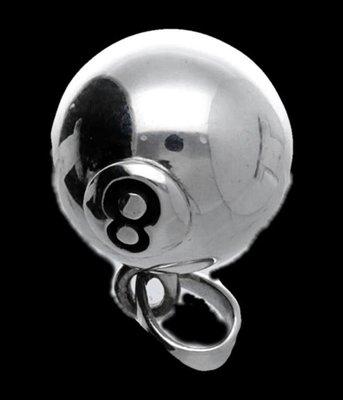Zilveren Biljartbal snooker 8 kettinghanger