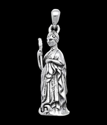 Zilveren Griekse godin Athena - Minerva kettinghanger