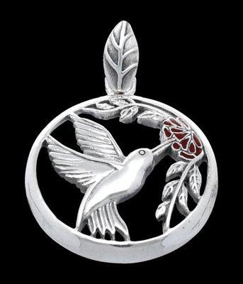 Zilveren Kolibri met vrucht kettinghanger