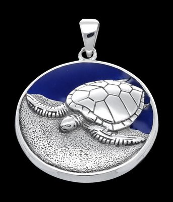 Zilveren Schildpad op strand kettinghanger