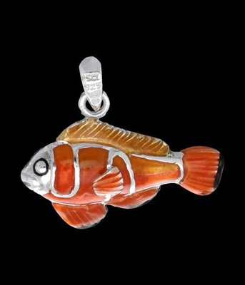 Zilveren Anemoon vis kettinghanger