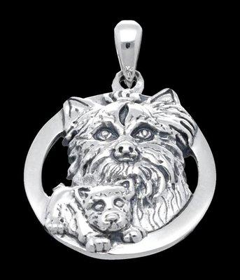 Zilveren Yorkshire Terrier kettinghanger